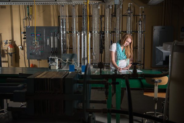 A student works on research project